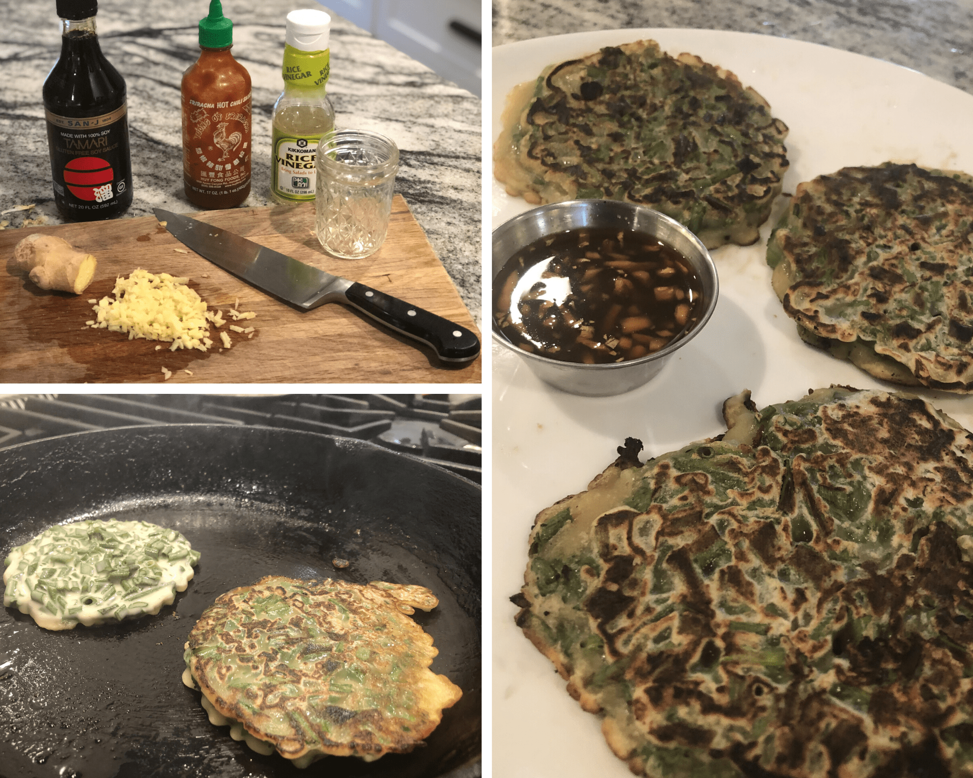 From top left to right: ingredients for the sauce (minus the honey), pancakes frying in my cast iron pan, and the finished product with the amazing dipping sauce