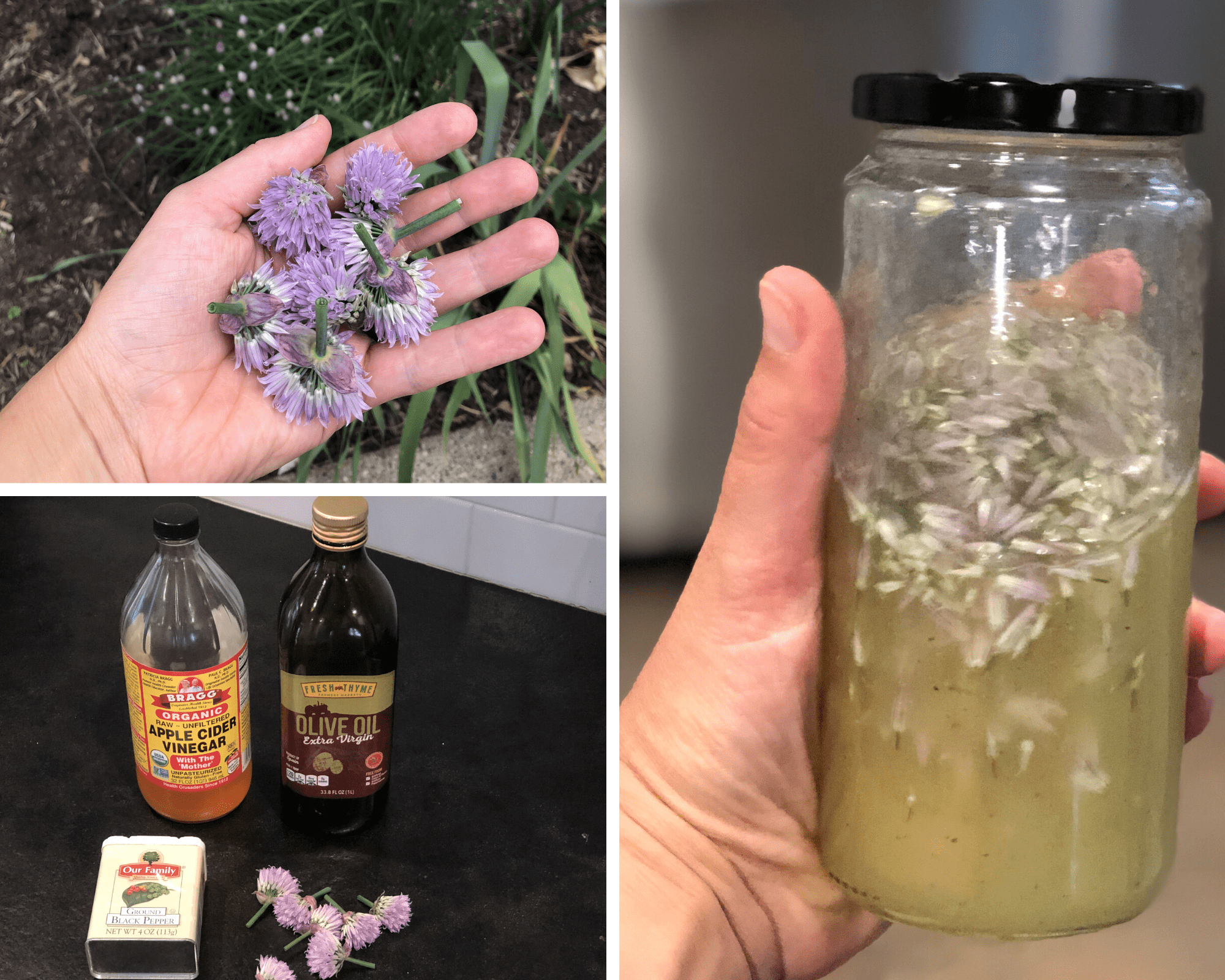 From top left to right: chive blossoms harvested from my backyard herb garden, the four simple ingredients required to make this vinaigrette, and the finished product in a repurposed tahini glass jar