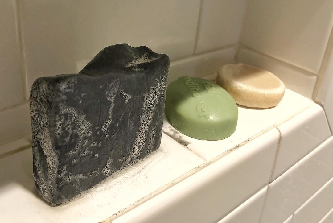 Shampoo, Conditioner, and Soap bars in my shower