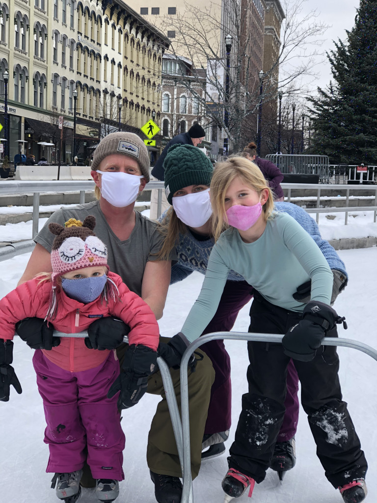 Me and my family ice skating at the Rose Parks ice rink in downtown Grand Rapids, Michigan. With masks on, of course.